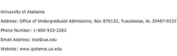 University of Alabama Address Contact Number