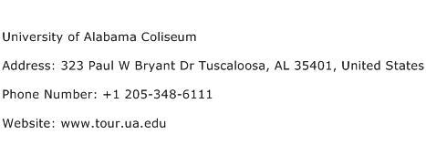 University of Alabama Coliseum Address Contact Number
