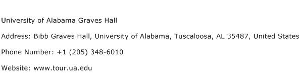 University of Alabama Graves Hall Address Contact Number