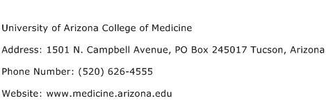 University of Arizona College of Medicine Address Contact Number