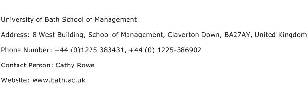University of Bath School of Management Address Contact Number