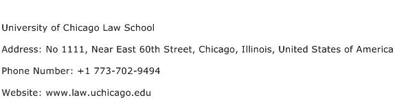 University of Chicago Law School Address Contact Number