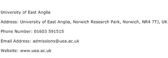 University of East Anglia Address Contact Number