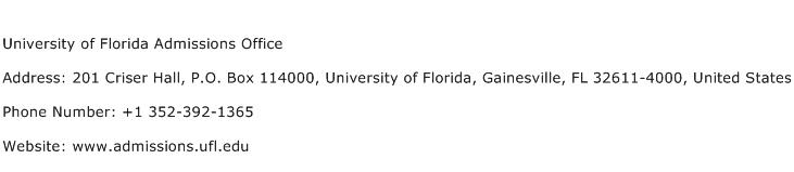 University of Florida Admissions Office Address Contact Number
