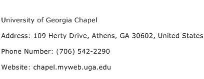 University of Georgia Chapel Address Contact Number