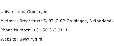 University of Groningen Address Contact Number