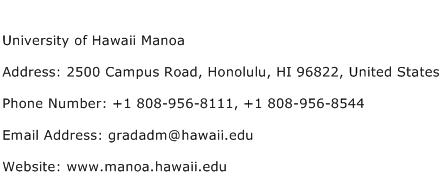 University of Hawaii Manoa Address Contact Number