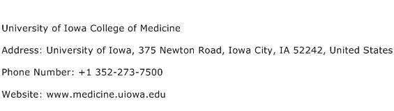 University of Iowa College of Medicine Address Contact Number