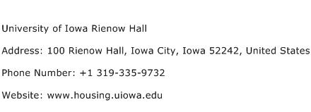 University of Iowa Rienow Hall Address Contact Number