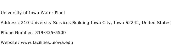 University of Iowa Water Plant Address Contact Number