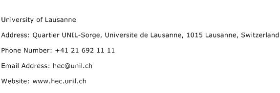 University of Lausanne Address Contact Number