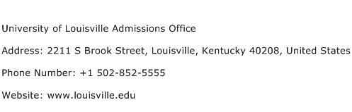 University of Louisville Admissions Office Address Contact Number