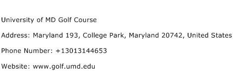 University of MD Golf Course Address Contact Number