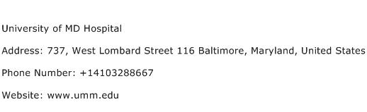 University of MD Hospital Address Contact Number