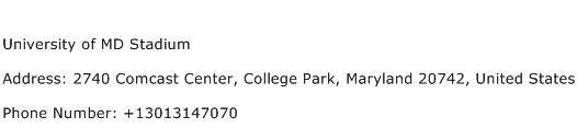 University of MD Stadium Address Contact Number