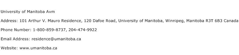 University of Manitoba Avm Address Contact Number