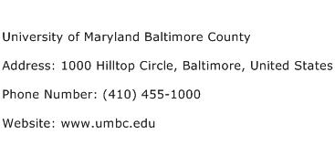 University of Maryland Baltimore County Address Contact Number
