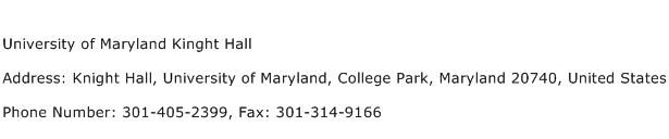 University of Maryland Kinght Hall Address Contact Number