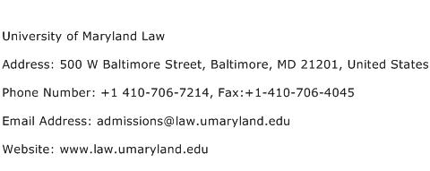 University of Maryland Law Address Contact Number