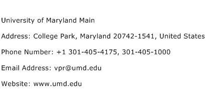 University of Maryland Main Address Contact Number
