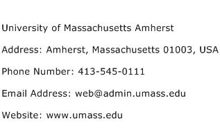 University of Massachusetts Amherst Address Contact Number