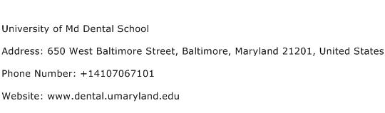 University of Md Dental School Address Contact Number