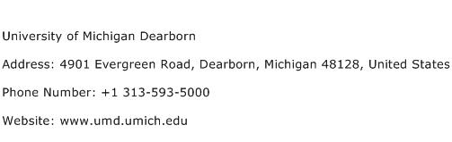 University of Michigan Dearborn Address Contact Number