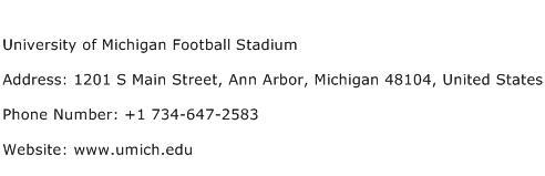 University of Michigan Football Stadium Address Contact Number
