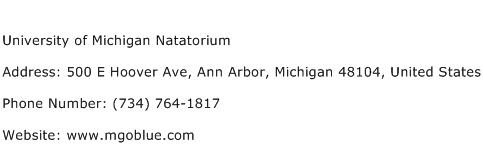 University of Michigan Natatorium Address Contact Number