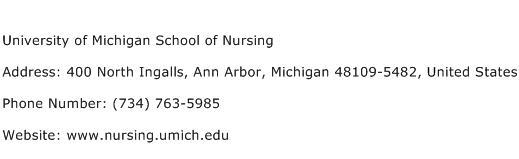 University of Michigan School of Nursing Address Contact Number