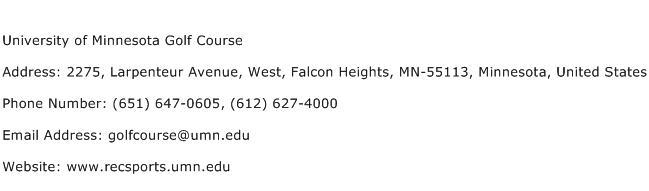 University of Minnesota Golf Course Address Contact Number
