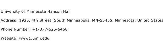 University of Minnesota Hanson Hall Address Contact Number