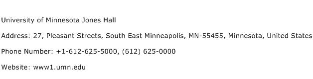 University of Minnesota Jones Hall Address Contact Number