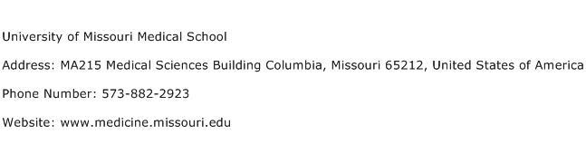 University of Missouri Medical School Address Contact Number