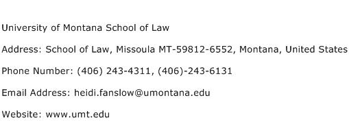 University of Montana School of Law Address Contact Number