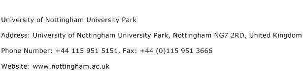 University of Nottingham University Park Address Contact Number