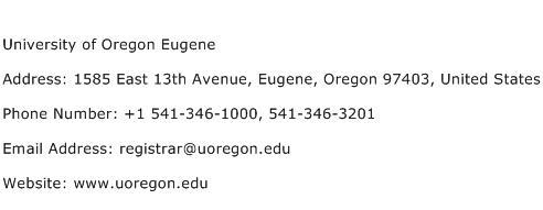 University of Oregon Eugene Address Contact Number