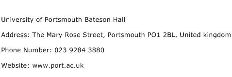 University of Portsmouth Bateson Hall Address Contact Number