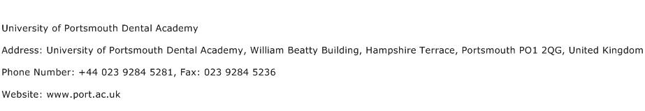 University of Portsmouth Dental Academy Address Contact Number