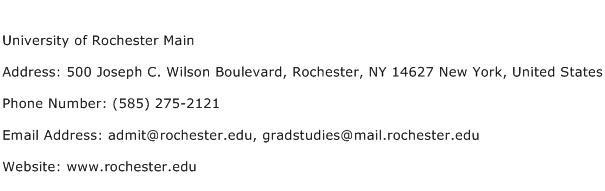 University of Rochester Main Address Contact Number