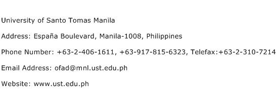 University of Santo Tomas Manila Address Contact Number