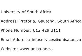 University of South Africa Address Contact Number