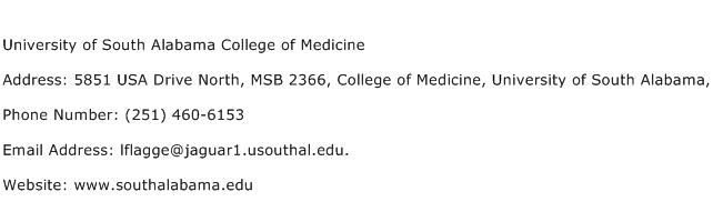 University of South Alabama College of Medicine Address Contact Number