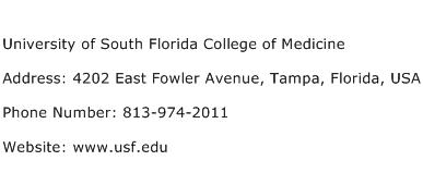 University of South Florida College of Medicine Address Contact Number