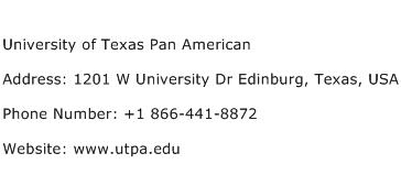 University of Texas Pan American Address Contact Number