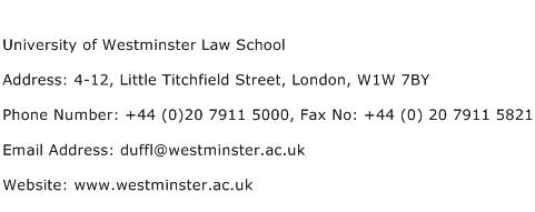 University of Westminster Law School Address Contact Number