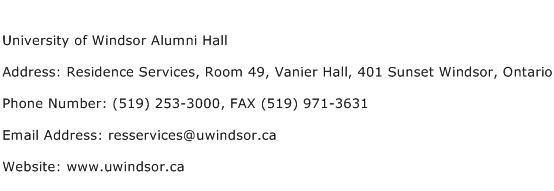 University of Windsor Alumni Hall Address Contact Number