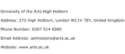 University of the Arts High Holborn Address Contact Number