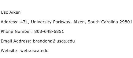 Usc Aiken Address Contact Number