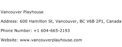 Vancouver Playhouse Address Contact Number